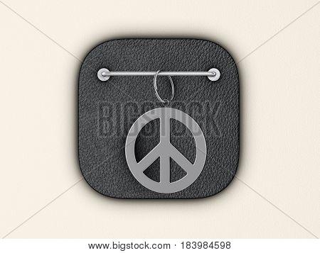 Peace symbol keyring on wall. 3d illustration.
