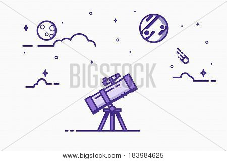 Astronomy mirror telescope. Discovery concept. Flat style, thick and thin line design of telescope looking to the stars and planets. Science discover. Blue ink colors. Comet and Jupiter with clouds.