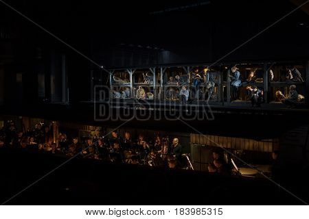MOSCOW - JAN 25, 2017: Prisoners on stage and orchestra pit at Passenger performance in Moscow Theater New Opera