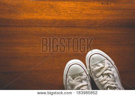 Top View Old Vintage Sneakers