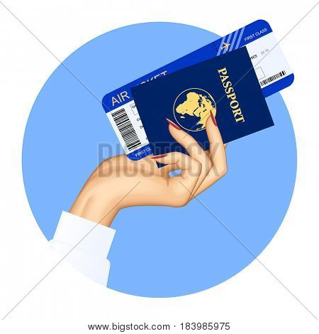 Hand of stewardess with passport and air ticket on round blue background