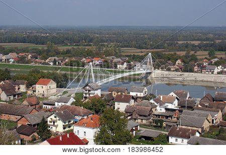 MARTINSKA VES, CROATIA - OCTOBER 07: Bridge over the Sava River in Martinska Ves, Croatia on October 07, 2007.