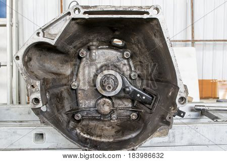 The mechanism of the car. Gear box. Close-up.