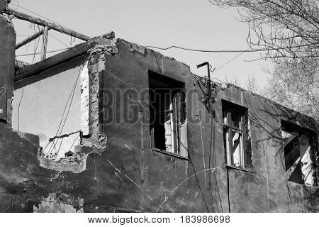 Destroyed Building. The beginning of a new day. Black and White