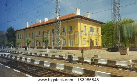 Railway station building and tracks in Bulgaria