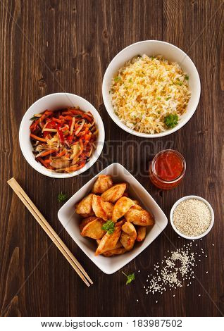 Asian food ingredients with chicken