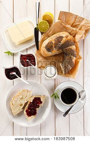 Sweet breakfast with coffee
