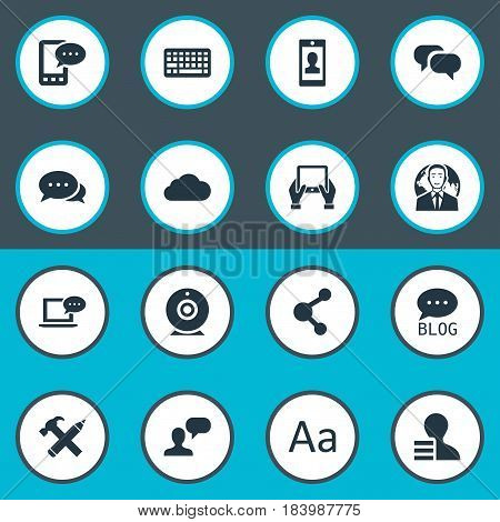 Vector Illustration Set Of Simple Blogging Icons. Elements Cedilla, Laptop, Gossip And Other Synonyms Overcast, Pencil And Gossip.