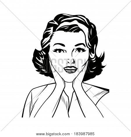 portrait woman surprise attitude pop art black and  vector illustration