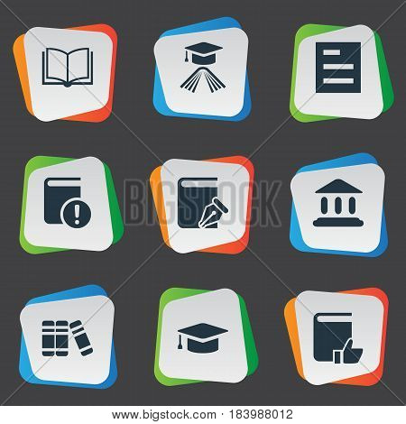 Vector Illustration Set Of Simple Knowledge Icons. Elements Tasklist, Important Reading, Recommended Reading And Other Synonyms Blank, Write And Reading.