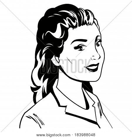 portrait woman pop art beauty happy black and  vector illustration
