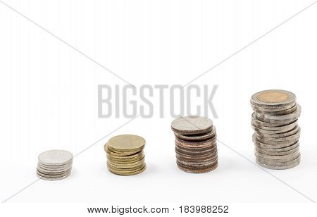 Four stack coins show the money saving concept financial concept business growth concept Investment concept.