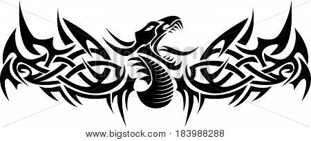 Black tribal dragon flying tattoo vector illustration