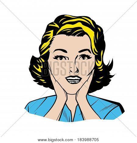 portrait blonde woman pop art surprised expression vector illustration