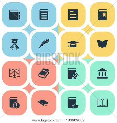 Vector Illustration Set Of Simple Education Icons. Elements Library, Blank Notebook, Notebook And Other Synonyms Hat, Textbook And Academy.