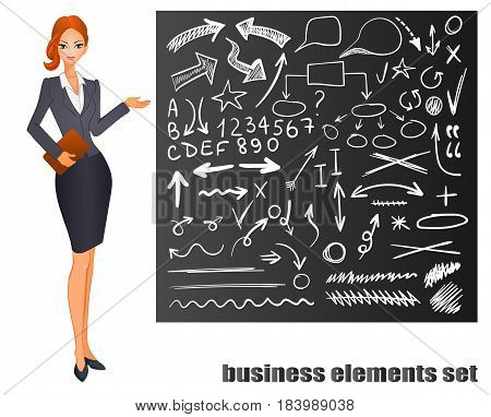 Businesswoman. Red hair. Chalkboard with hand drawn business sketches. VECTOR eps 8 illustration isolated on white