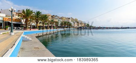 SITIA, CRETE, GREECE - JUNE 2016: Beautiful promenade in center of Sitia town on Crete island, Greece