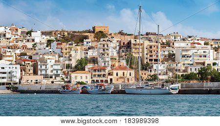 Frontal view of coastline of Sitia town on Crete island, Greece