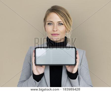 Businesswoman Smiling Holding Alarm Clock Copy Space Portrait Concept