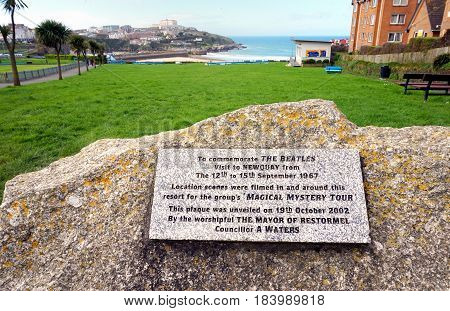 Newquay, Cornwall, Uk - April 1 2017: Stone Plaque Commemorating The 1967 Visit By The Beatles To Fi