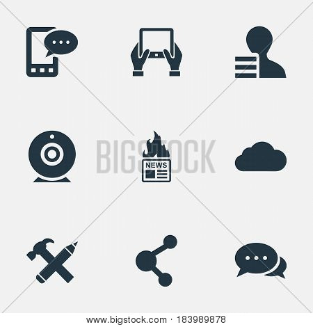 Vector Illustration Set Of Simple Blogging Icons. Elements Notepad, Argument, Repair And Other Synonyms Notepad, Tablet And E-Letter.