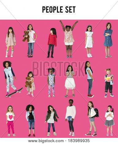 Diverse of Young Girls Children People Studio Isolated
