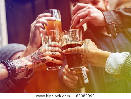 Gradient Color Style with Craft Beer Booze Brew Alcohol Celebrate Refreshment