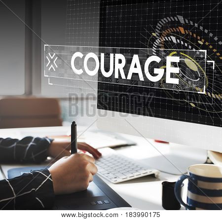 Graphic Designer Working and Courage Design Graphic Word