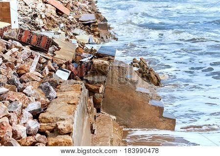 Damaged Beach Houses. Spain