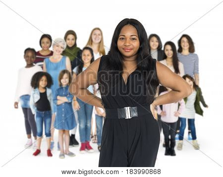 Various of diversity women generation group standing with smiling on background