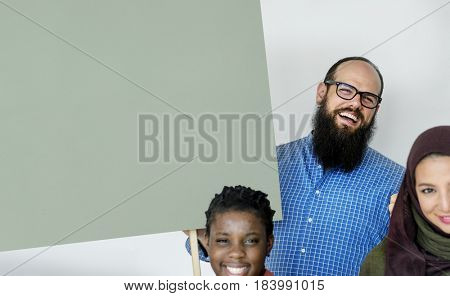 Group of Diverse People with Blank Copy Space Board