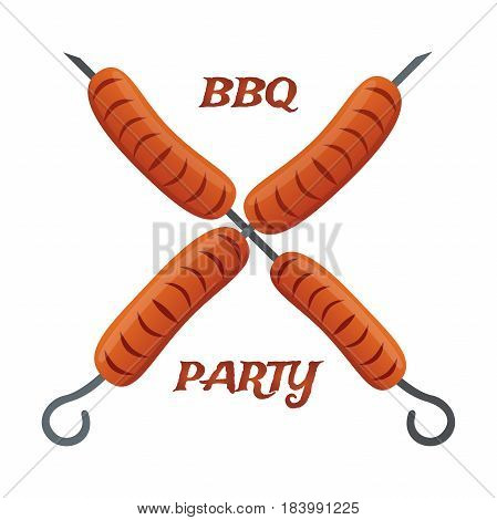 Barbecue party, fried sausages on skewers. Tasty BBQ made in cartoon flat style.