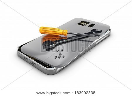 3D illustration Mobile phone repair. Broken mobile phone with screwdriver and spanner.
