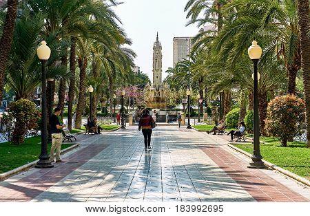Alicante Spain- People walking along the Avenue Federico Soto in Alicante Costa Blanca. Spain
