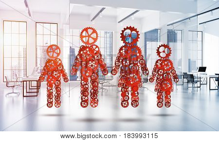 Figures of family made of gears and cogwheels on white office background. 3d rendering