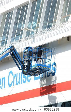 Amsterdam The Netherlands - April 27th 2017: Balmoral Fred Olsen Cruise Lines maintenance while docked at Passenger Terminal Amsterdam