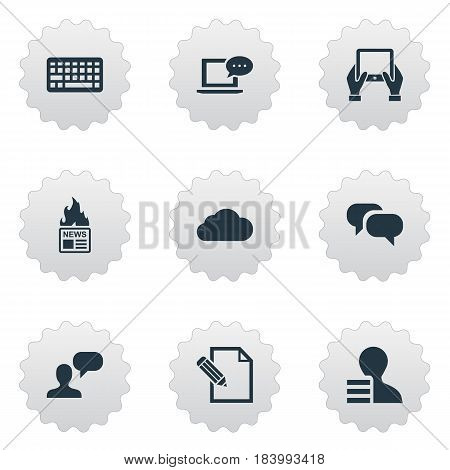 Vector Illustration Set Of Simple Newspaper Icons. Elements Man Considering, Overcast, Gain And Other Synonyms Debate, Pen And Keypad.