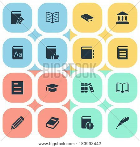 Vector Illustration Set Of Simple Books Icons. Elements Pen, Encyclopedia, Plume And Other Synonyms Sketchbook, Building And Literature.