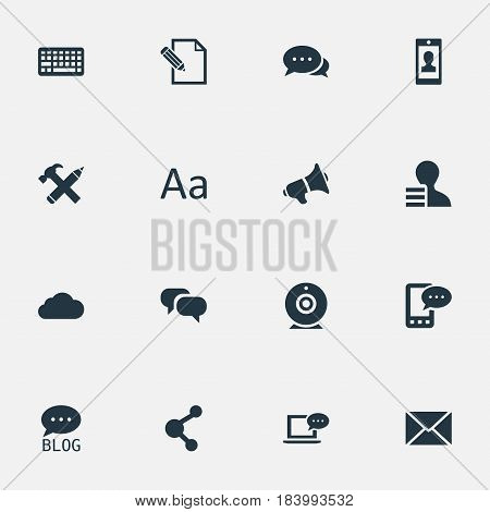 Vector Illustration Set Of Simple User Icons. Elements Argument, Site, Laptop And Other Synonyms Relation, Site And Missive.
