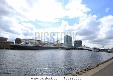 Amsterdam The Netherlands - April 27th 2017: Balmoral and Astoria docked at Passenger Terminal Amsterdam