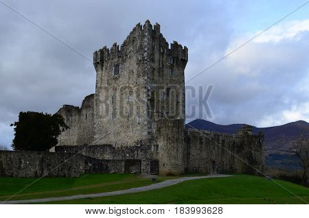 Clouds looming over the ruins of Ross Castle in Ireland.