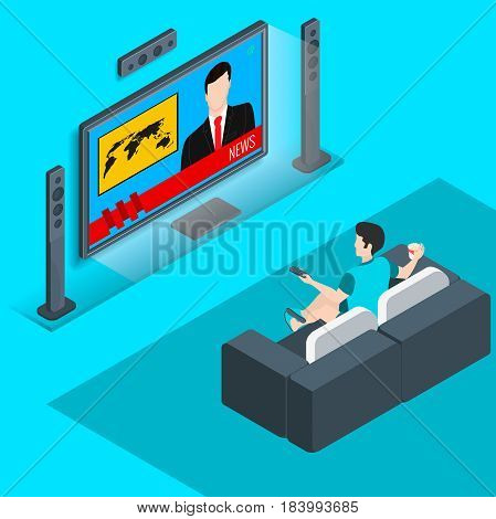 young man sitting on the couch and watching TV