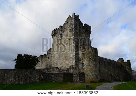 Ross Castle made of stone in Killarney Ireland.