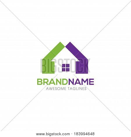 Real estate vector logo. Home with window simple house symbol, - realty building logo