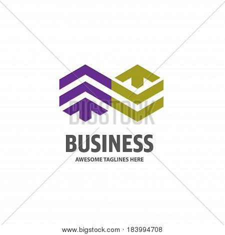 Real estate unlimite development with arrow logo concept icon. Building logo illustration. Skyscraper logo design. Abstract building logo. Vector tall business building.