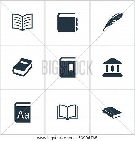 Vector Illustration Set Of Simple Knowledge Icons. Elements Journal, Plume, Notebook And Other Synonyms Bookmark, Building And Alphabet.
