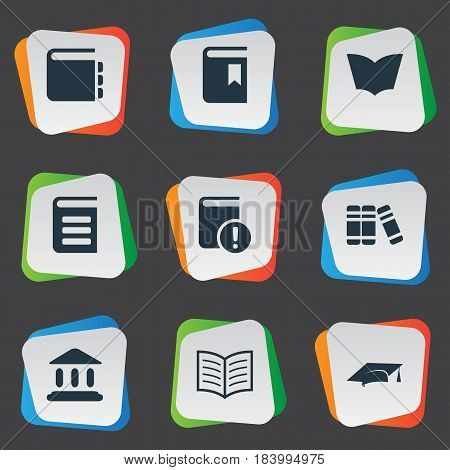 Vector Illustration Set Of Simple Reading Icons. Elements Library, Reading, Book Page And Other Synonyms Graduation, Academy And Bookmark.