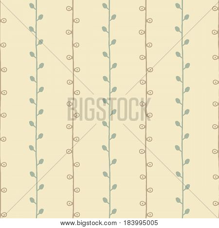 Seamless natural sketch vector pattern. Green brown twigs on yellow background. Hand drawn abstract texture illustration