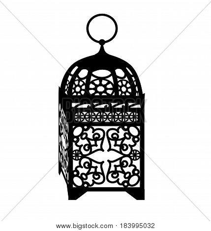Ramadan Kareem maroccan lantern in black isolated