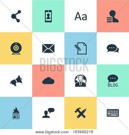Vector Illustration Set Of Simple Newspaper Icons. Elements Site, Repair, Argument And Other Synonyms Gazette, Web And Camera.